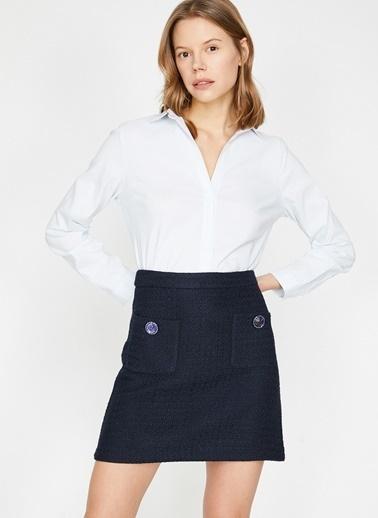 Koton Koton Beyaz Gömlek Mavi